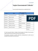 Personal Project Assessment Criteria 2011