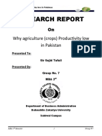 Research Report on Why Agriculture Productivity Low in Pakistan