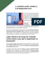 Formación y exclusión social. Estudios y trabajo para la integración social