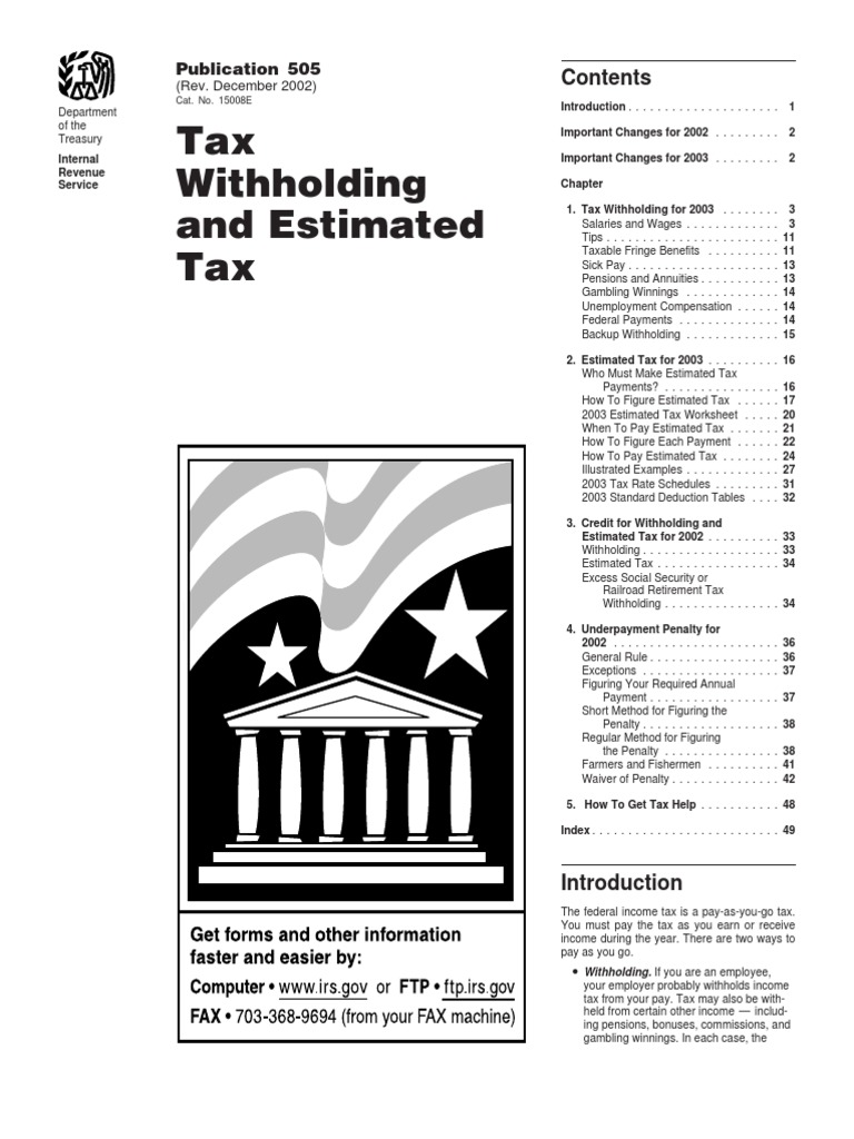 Us Internal Revenue Service P505 2002 Withholding Tax Income