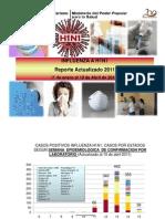 Influenza AH1N1. Estadísticas  Enero al 10 de Abril 2011. Ministerio Salud Venezuela