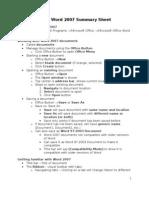 Basic Word 2007 Summary Sheet