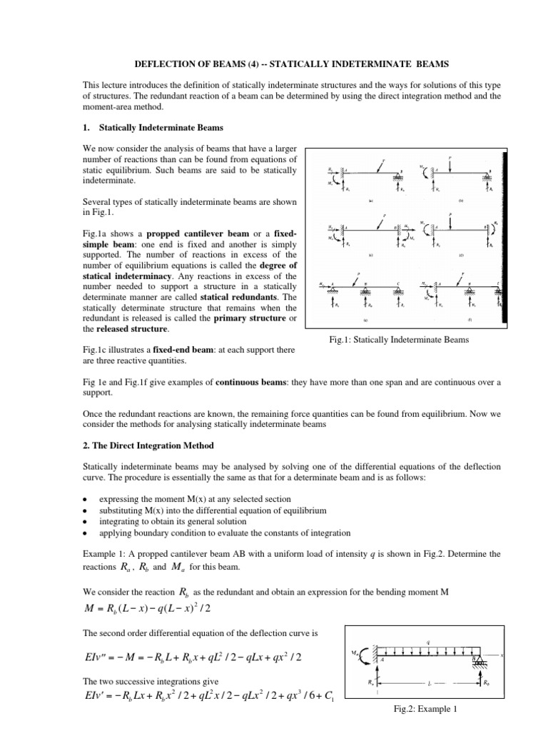 Statically Indeterminate Beams   Beam (Structure)   Equations