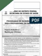 Cespe 2010 Ses Df Programa de Residencia Nutricao Clinica Prova