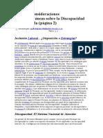 Algunas Consideraciones Contemporáneas sobre la Discapacidad en Venezuela
