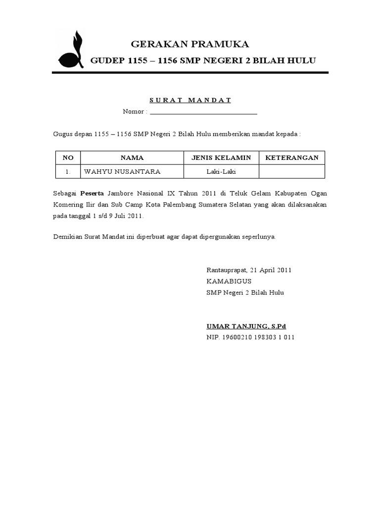 Contoh Surat Mandat Pramuka