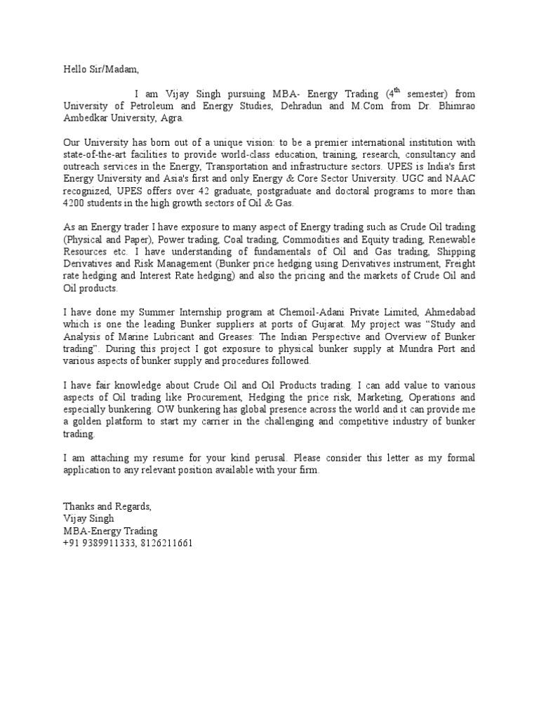Cover Letter U0026 Resume | Petroleum | Hedge (Finance)