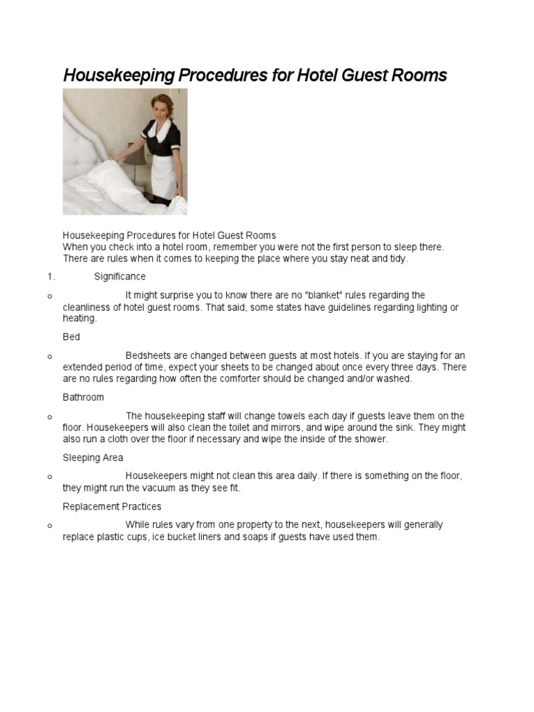 Housekeeping Procedures for Hotel Guest Rooms ...