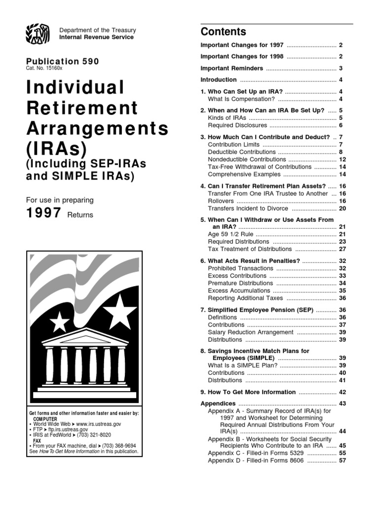 Us Internal Revenue Service P590 1997 Individual Retirement