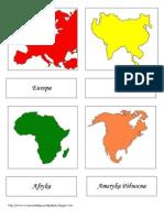 Kontynenty Montessori_Karty Do Lekcji Trójstopniowej
