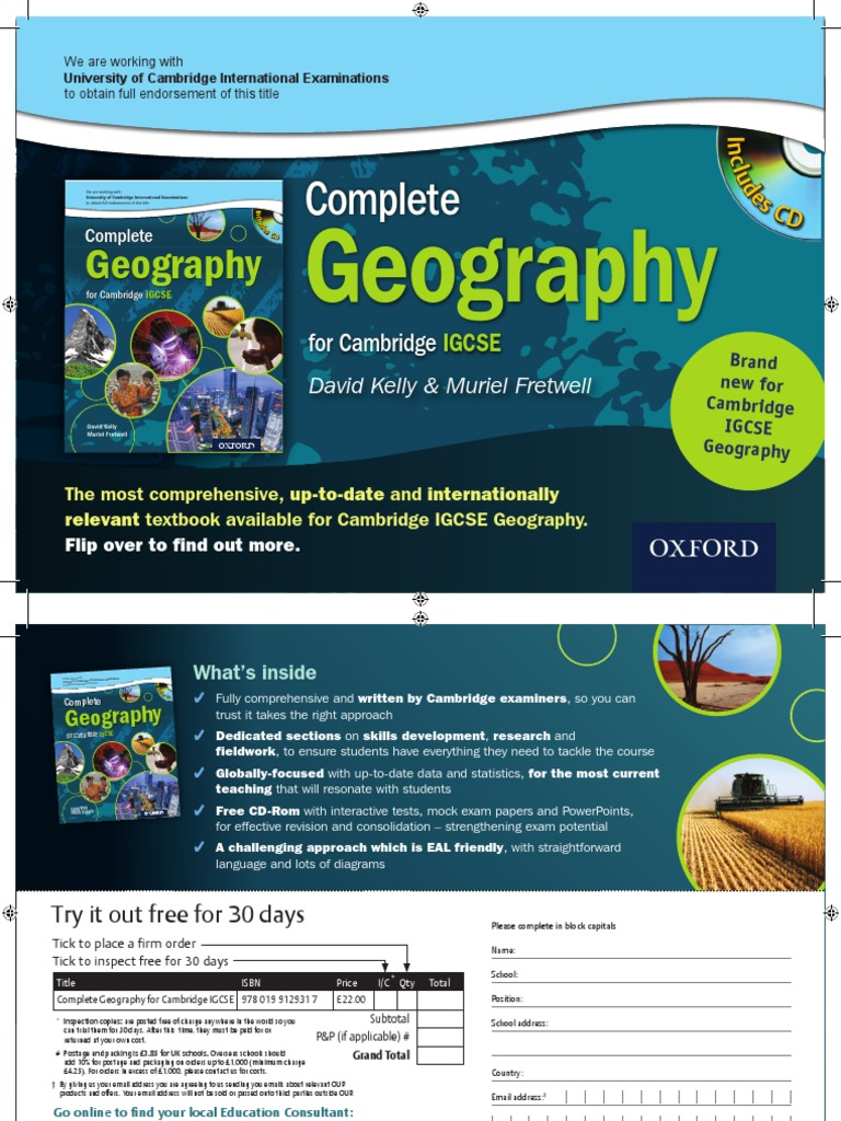Igcse geography College paper Example - September 2019