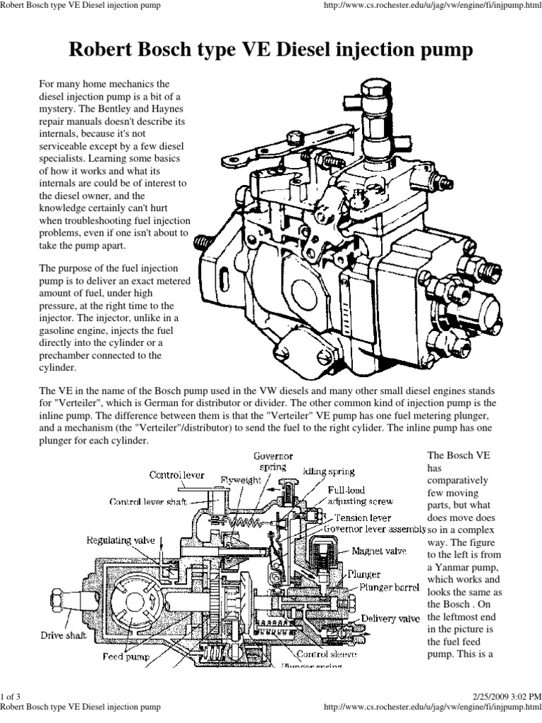 Robert Bosch type VE Diesel injection pump | Fuel Injection
