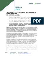 Telefónica es la segunda mejor empresa para trabajar en América Latina