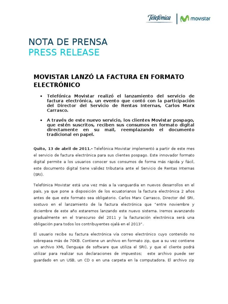 movistar lanzó la factura en formato electrónico