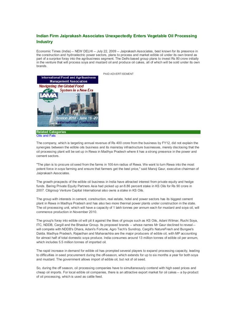 Indian Firm Jaiprakash Associates Unexpectedly Enters Vegetable Oil