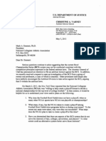 Letter From Dept of Justice to NCAA on BCS