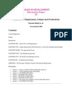 Pakistan Employment, Output and Productivity