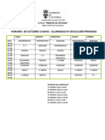 horario escolar de 6º de Primaria