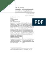 Le contrôle de gestion SE de la performance