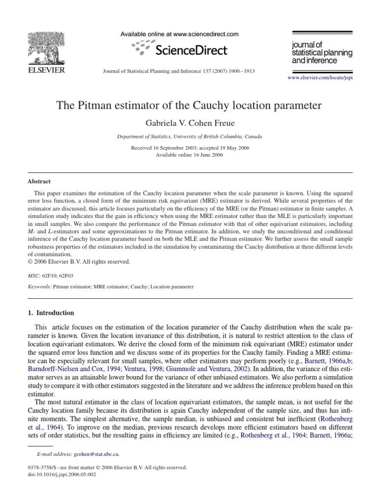 The Pitman Estimator Of The Cauchy Location Parameter