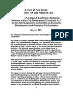 Joseph Lashinger, of Paper City Development, Testimony Before Joint Legislative Committee on Economic Development and Emerging Technologies