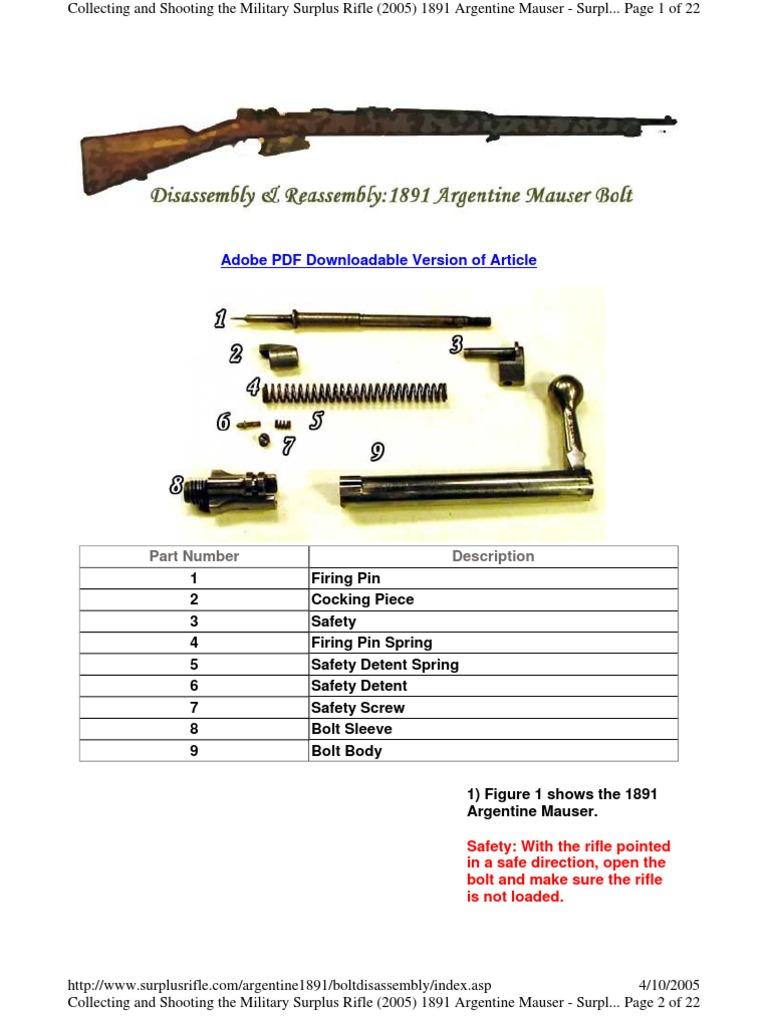 1891argentineboltdisassembly | Rifle | Screw