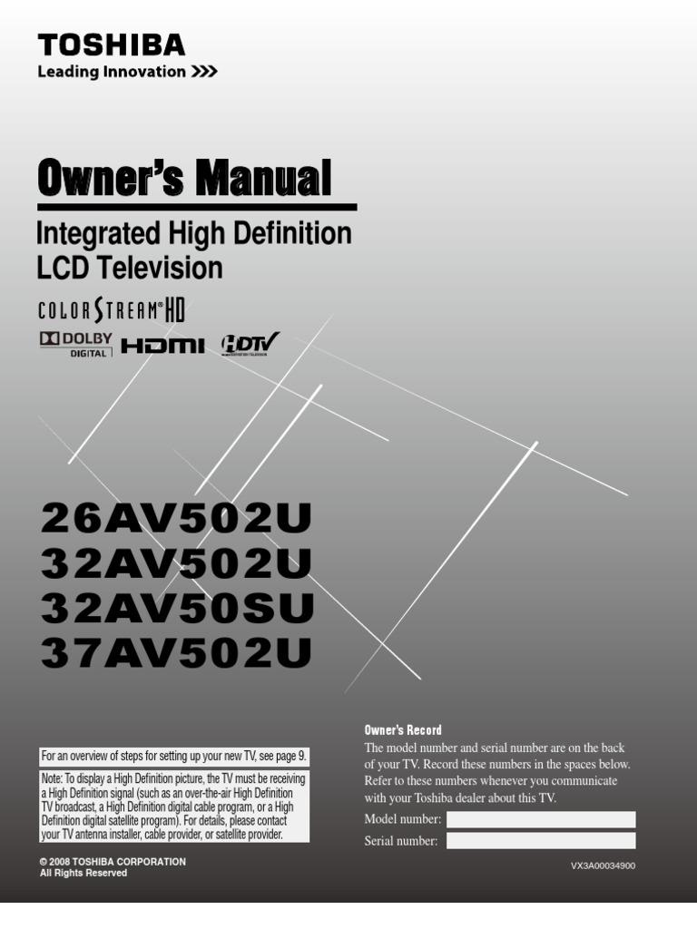 TV Manual 26av502u Om e | Hdmi | Video