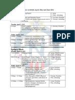 Schedule Academico Abril Mayo Junio 2011