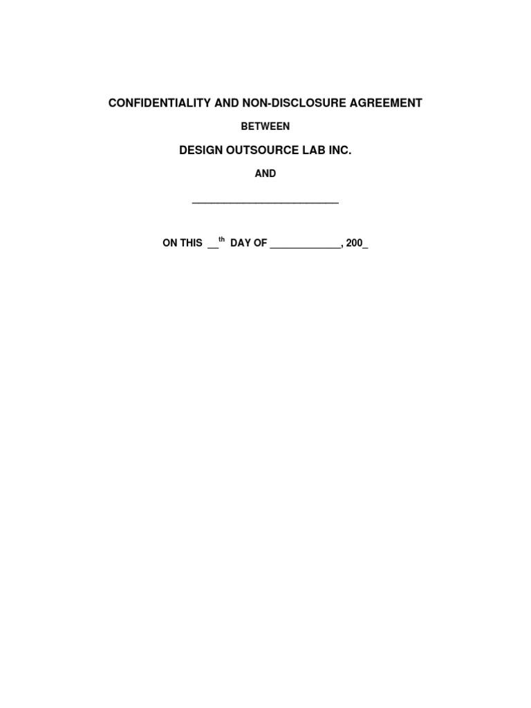 Nda Sample Philippines Non Disclosure Agreement