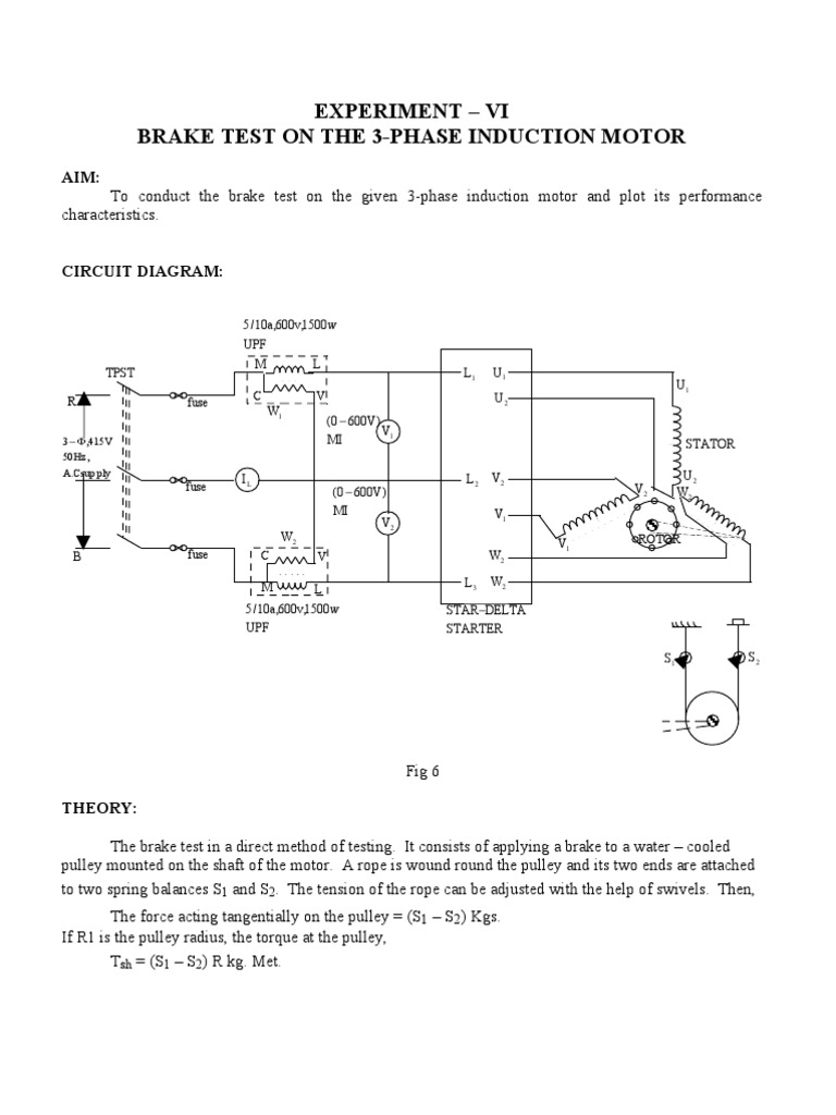 3 Phase Brake Motor Wiring Diagram : Brake test on the phase induction motor