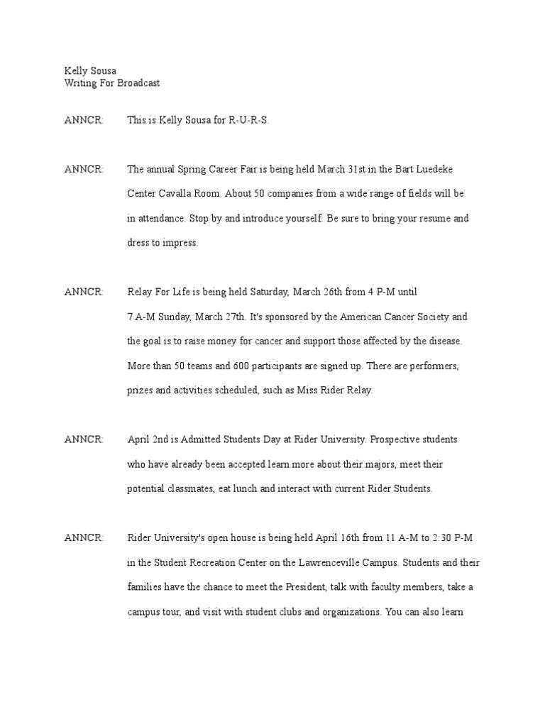 2 minute radio newscast script | Leisure | Sports
