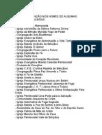 nomes de igejas