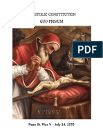 Apostolic Constitution Quo Primum ( Saint Pope Pius v )
