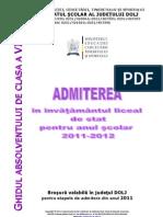 Brosura Admitere in Licee 2011-2012