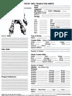 Robotech Character Sheets