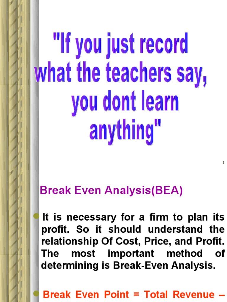 importance of break even analysis