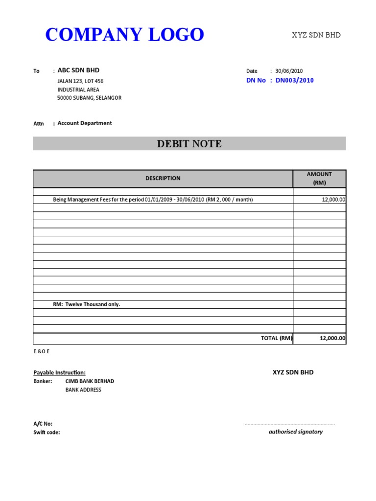 Sample Debit Note – Letter of Debit Note