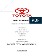 TOYOTA PAKISTAN......RESEARCH REPORT ON SALES MANAGEMENT