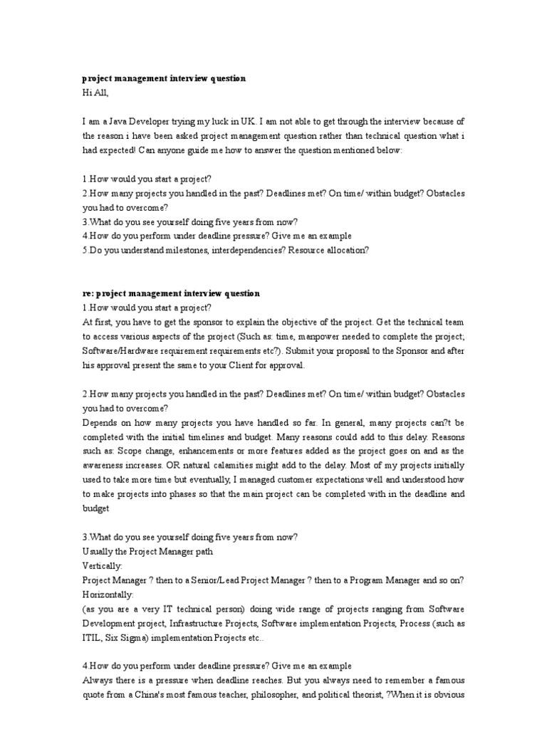 Project Management Interview Question Project Management