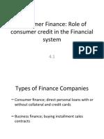 4.1 Consumer Finance