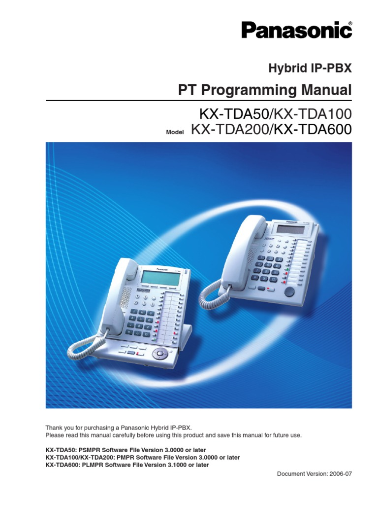 panasonic kx tda programming manual personal identification number rh es scribd com panasonic tda 50 programming manual kx-tda50 pc programming manual