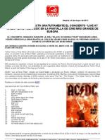 Nota de Prensa - Yelmo Cines Te Invita a Presenciar El Concierto Live at River Plate de Acdc - 12052011