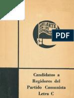 Candidatos a Regidores del Partido Comunista de Chile - Cartilla Votación - Año 1967