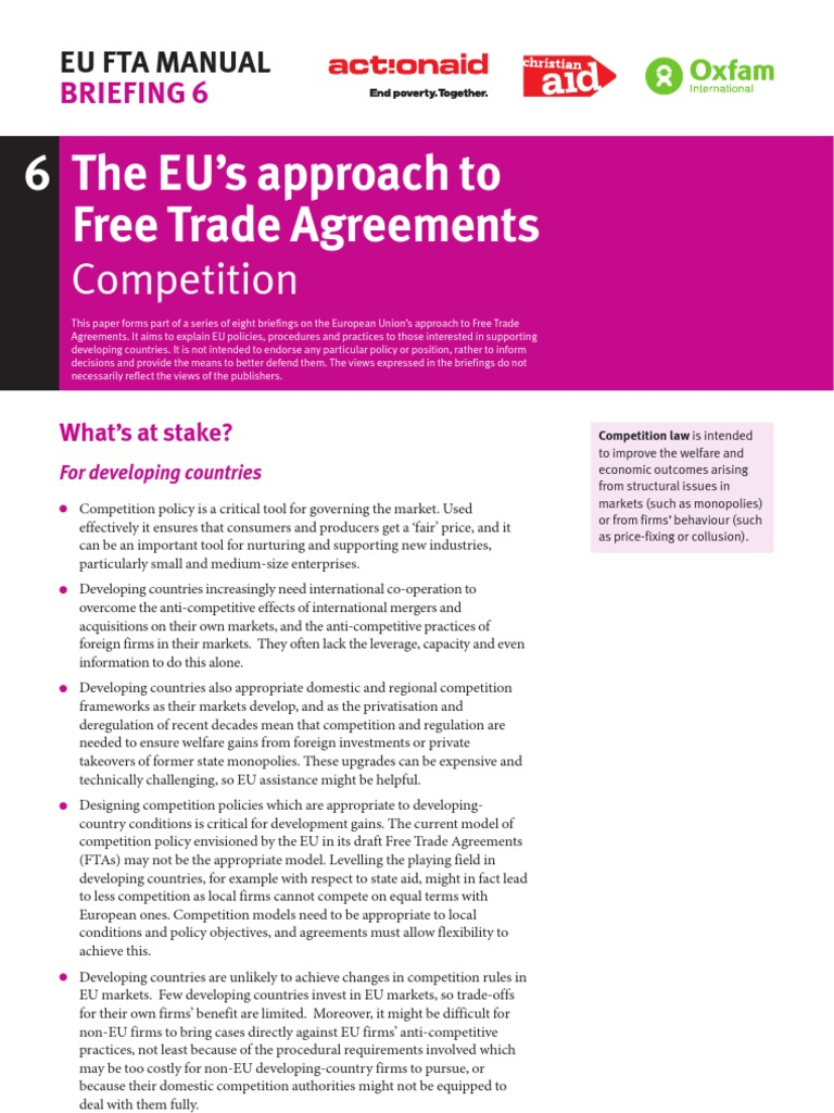 The Eus Approach To Free Trade Agreements Competition World