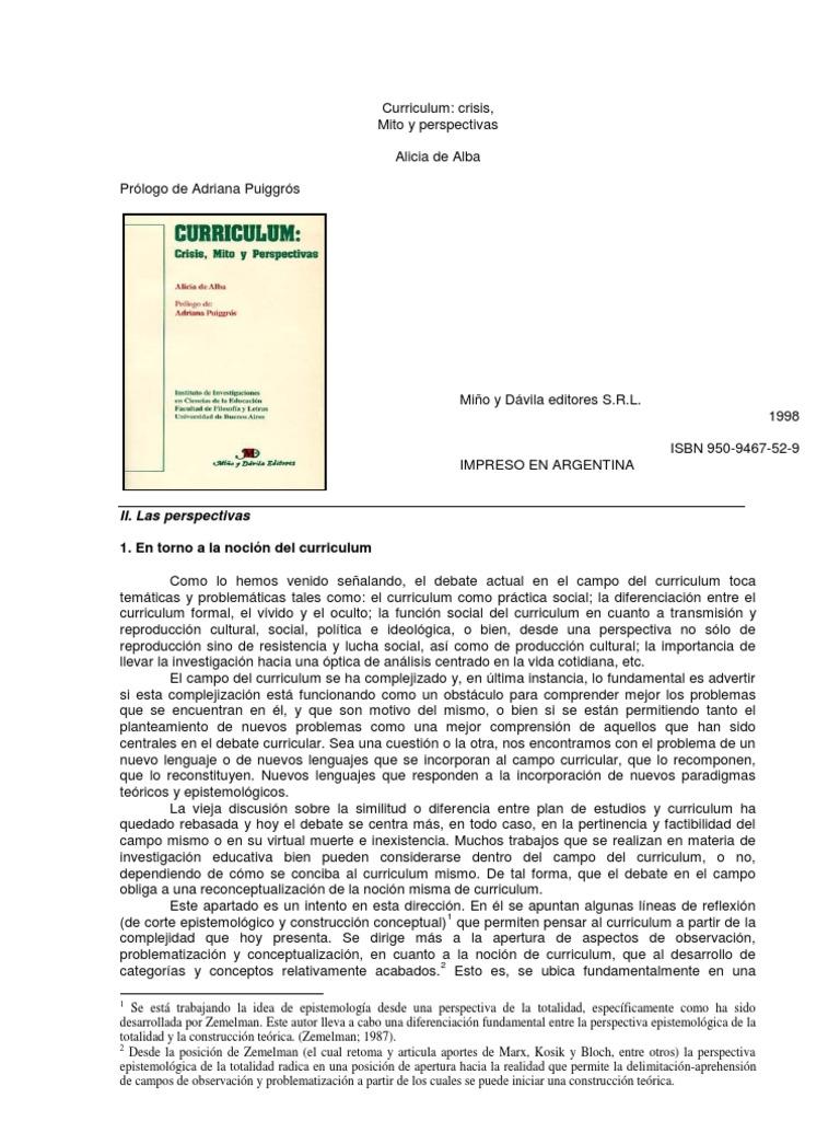 Alicia De Alba noción de currículum