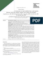 In Vitro Measurement of Pressure in Inter Vertebral Discs And