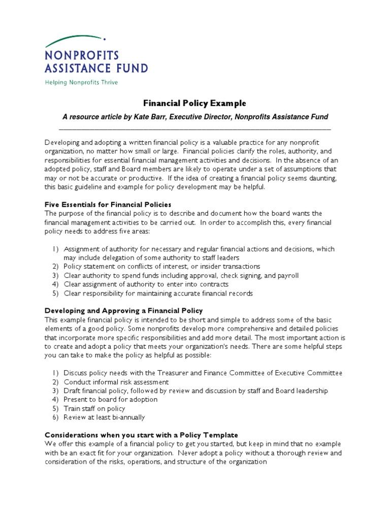 financial policy board of directors nonprofit organization