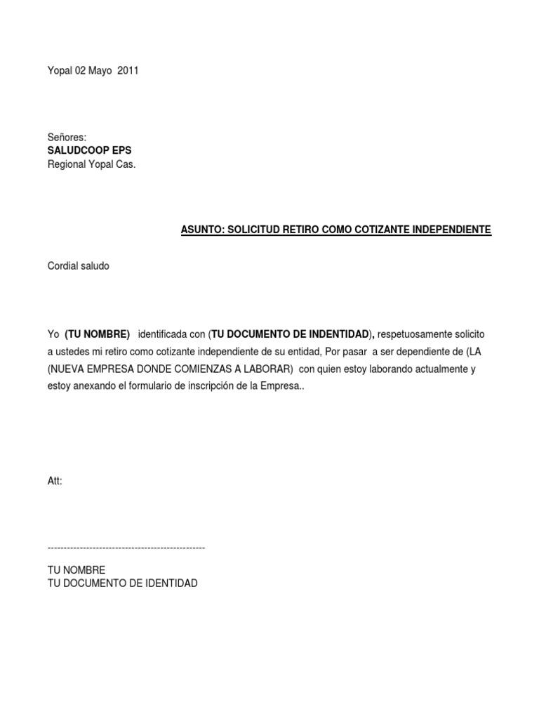 Modelo Solicitud Retiro Como Cotizante Independiente