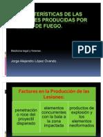 Características de las lesiones producidas por armas de