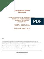 Dossier Cobertura de Prensa.Visita a Costa Rica, Relator Especial ONU, James Anaya. Abril 2011